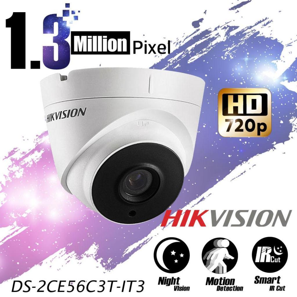 Camera Hikvision กล้องวงจรปิดเดี่ยว ทรงโดม 1.3 MP ล้านพิกเซล (DS-2CE56C3T-IT3) กล้อง HD 720p 960pamera Hikvision กล้องวง
