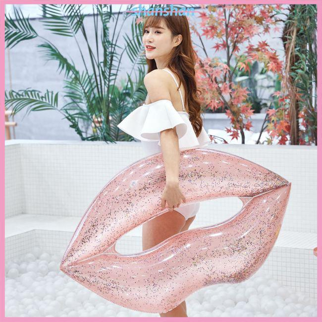 Small Inflatable Rose Gold Sequins Lip Swimming Ring for Adults