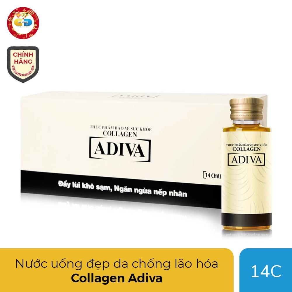 Collagen Adiva nước uống đẹp da, chống lão hóa, Hộp 14 chai 30ml