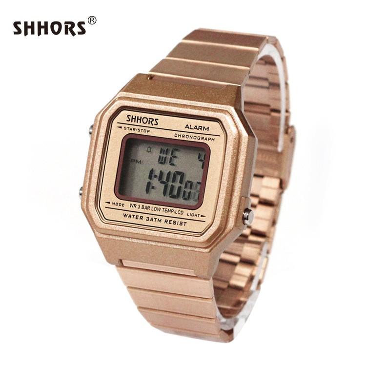 [CHÍNH HÃNG] Đồng hồ thể thao nam nữ Shhors điện tử 0316 dây kim loại size 36x33mm