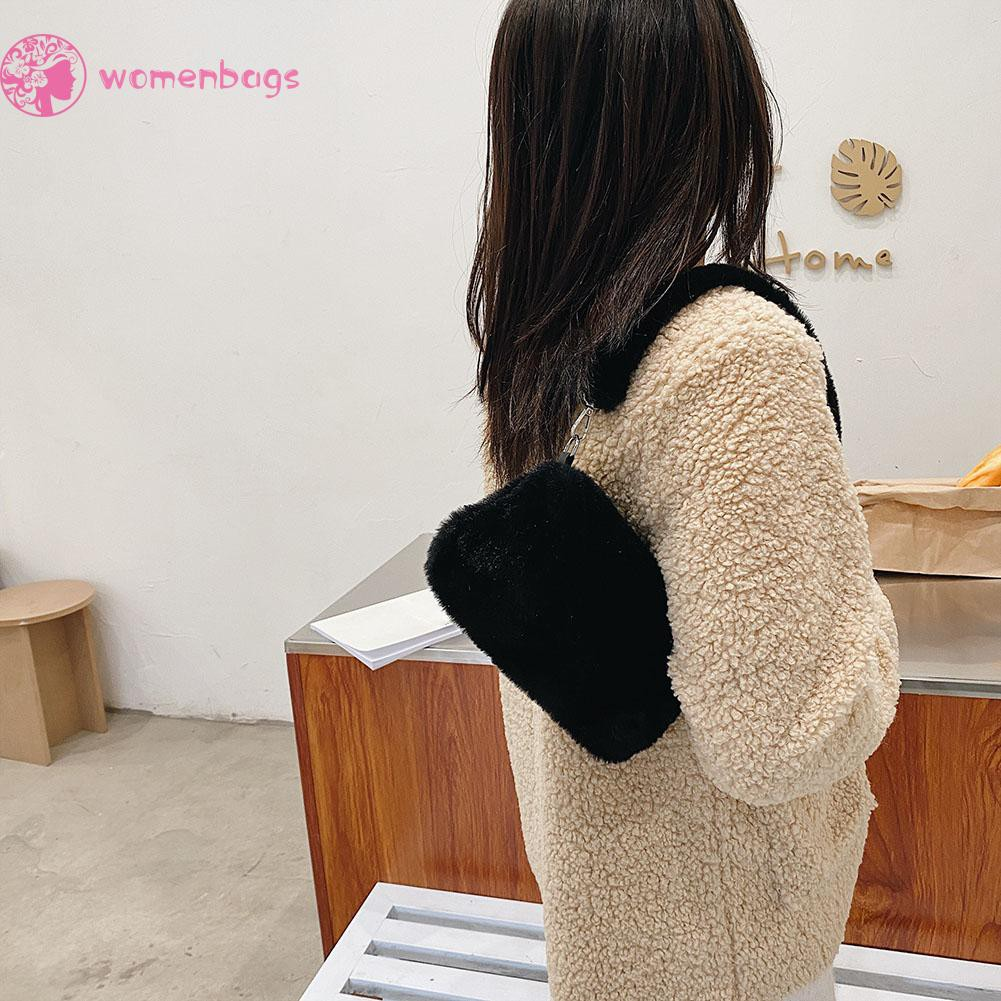 Túi Xách Vải Lông Họa Tiết Da Động Vật Phong Cách Retro Cho Nữ