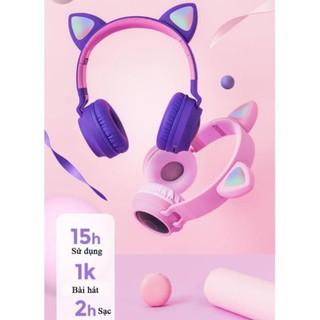 [CHÍNH HÃNG] ️🌻️ Tai Nghe Mèo Bluetooth 🌻 (chụp tai, có đèn, có Mic, Bass, Pin Khủng 400mAh- BH 12 tháng)