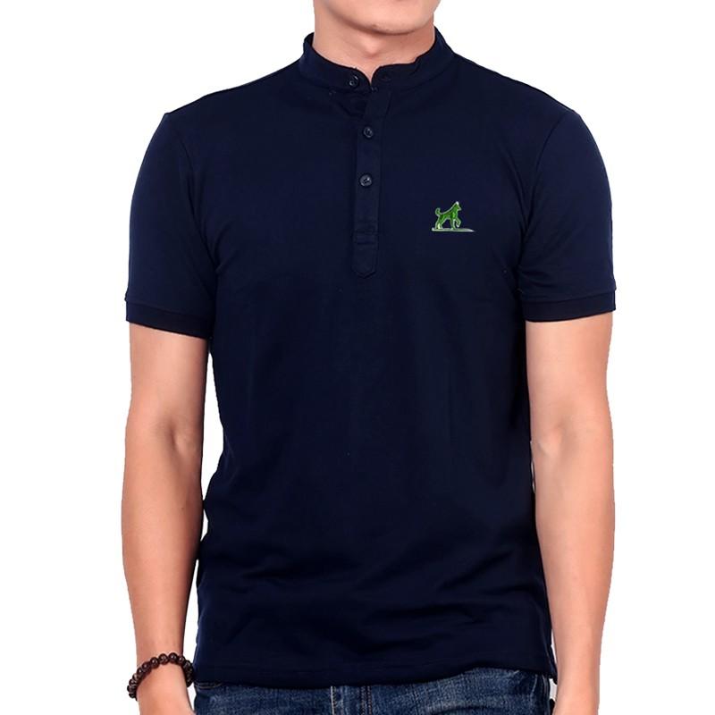 Áo thun nam cổ bẻ Henley phong cách PG012 (xanh đen)