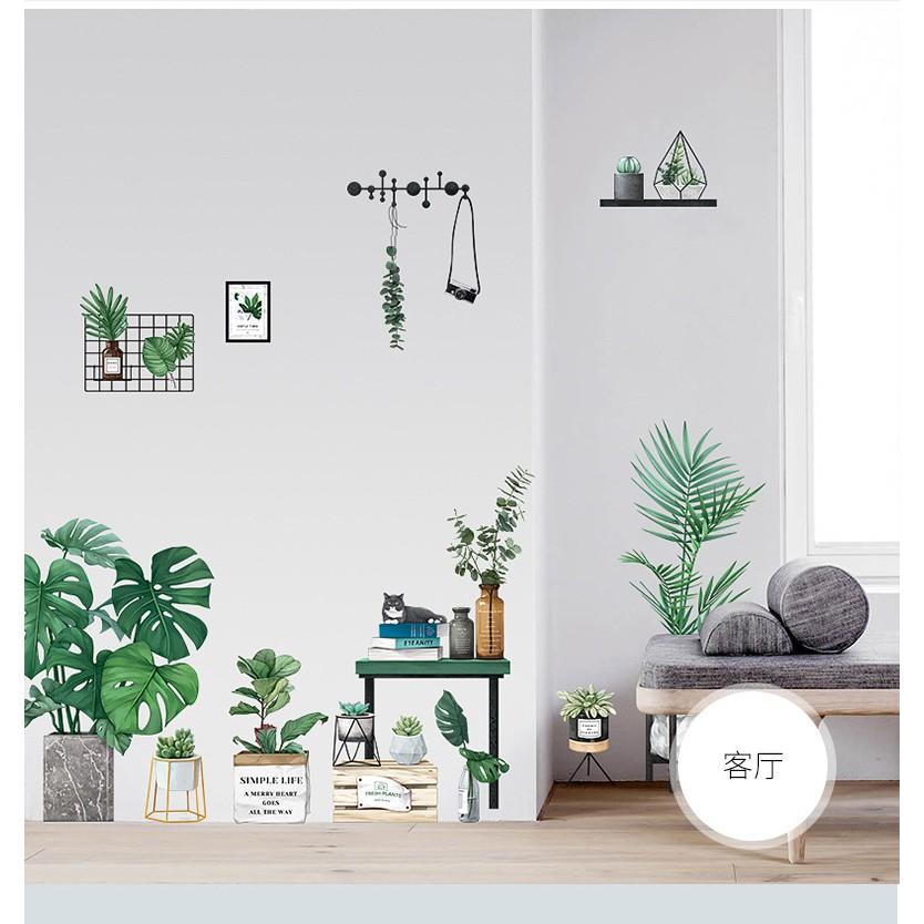 Decal dán tường chậu cây xanh mẫu hàn 02 QR 2022AB