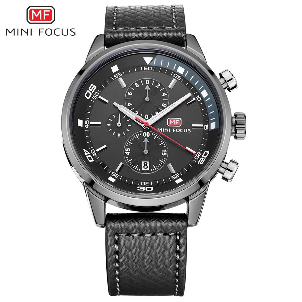 Đồng hồ nam MINI FOCUS MF017 kiểu dáng thể thao chạy 6 kim chống nước