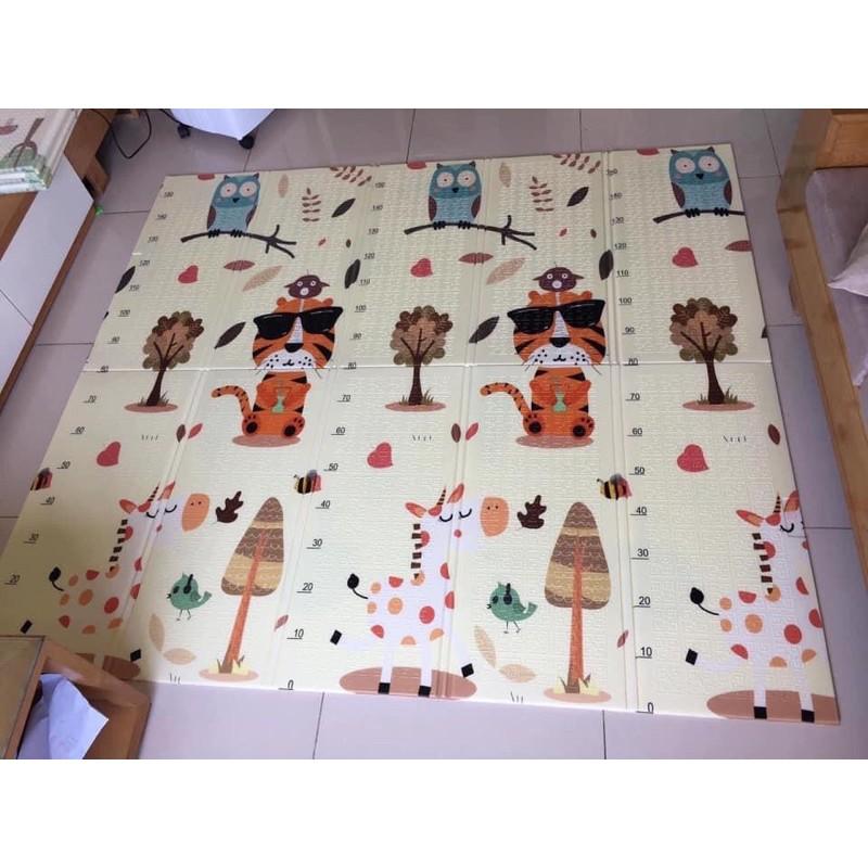 Thảm xốp cho bé XPE gấp gọn tấm lót trải sàn 2 mặt chống thấm chống trơn hàn quốc phủ silicon 1m8 2m