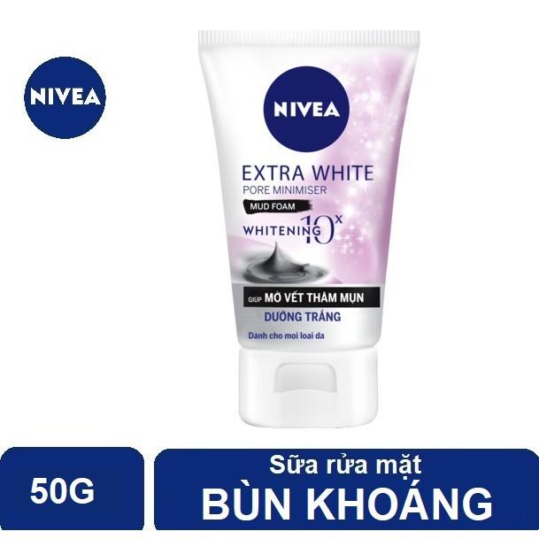 Sữa rửa mặt bùn khoáng Nivea giúp trắng da & se khít lỗ chân lông (50g) - 82339