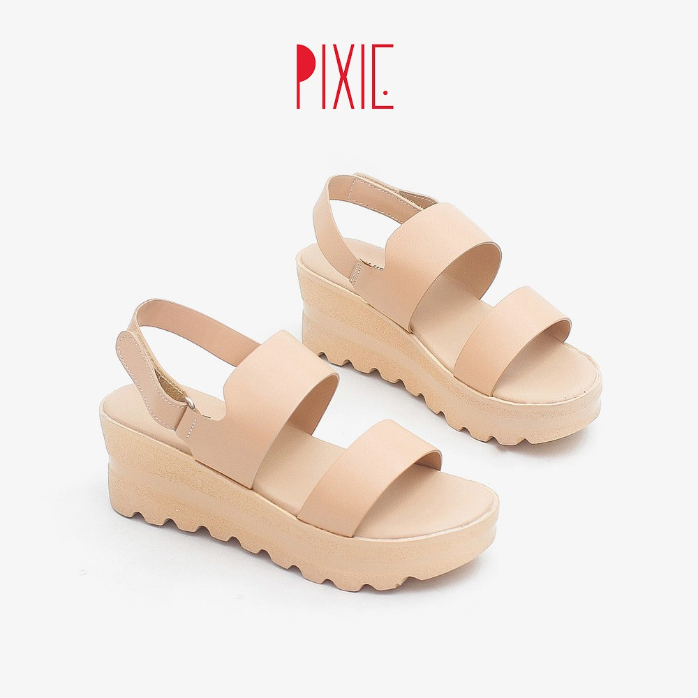 Giày Sandal Đế Xuồng 5cm Siêu Nhẹ Quai Ngang Pixie X425