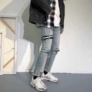 Quần jean nam rách gối Dây Nịt kiểu Hàn Quốc màu xanh xám