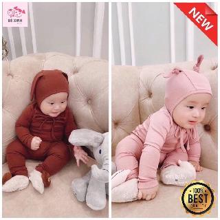 Bộ thu đông tai thỏ bé trai bé gái MINKY MOM [GÍA GIẢM SÂU] đồ bộ dài tay trẻ em kèm mũ nón cạp cao 100% chất thun lạnh