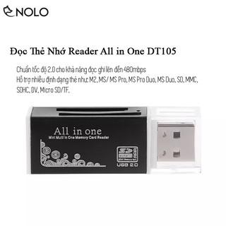 Đọc Thẻ Nhớ Reader Chuẩn Tốc Độ 2.0 All In One  DT105 Hỗ Trợ Định Dạng Thẻ Nhớ MS Pro M2 MicroSD TF MS Duo SD SDHC