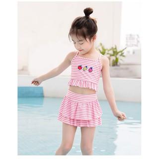[Mã FAMANU82 giảm 10% đơn 0đ] Đồ bơi bé gái kẻ sọc, bộ bơi cho bé từ 2 đến 12 tuổi chất lạnh tăm 3d, size đại 40kg