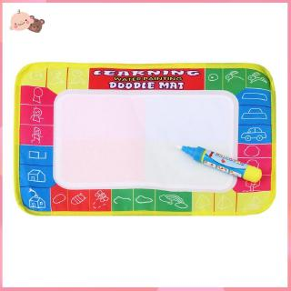 【promotion】Kids Write Draw Paint Water Canvas Magic Doodle Mat With Pen Brushes 29*19Cm