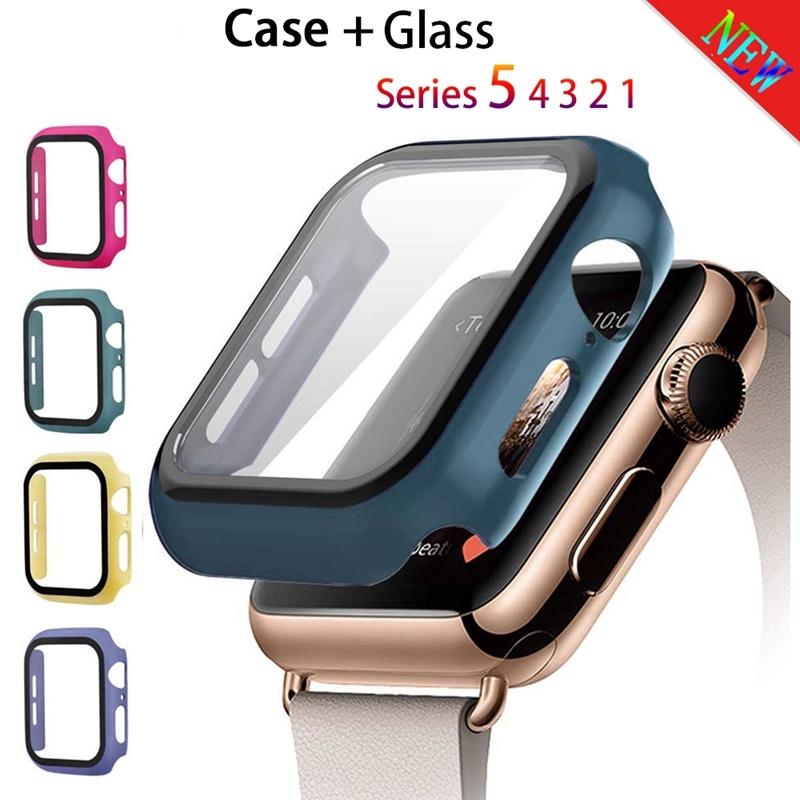 Ốp bảo vệ mặt đồng hồ + kính cường lực cho Apple Watch SE 6 5 4 44mm 40mm Iwatch 3 2 1 42mm 38mm