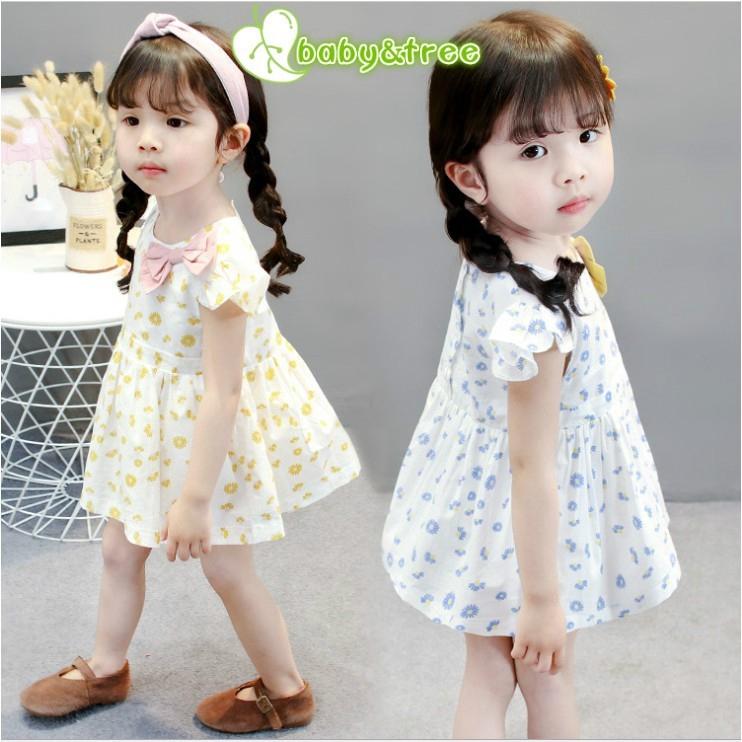 1334607286 - Váy đầm hoa ngắn tay đính nơ cho bé gái