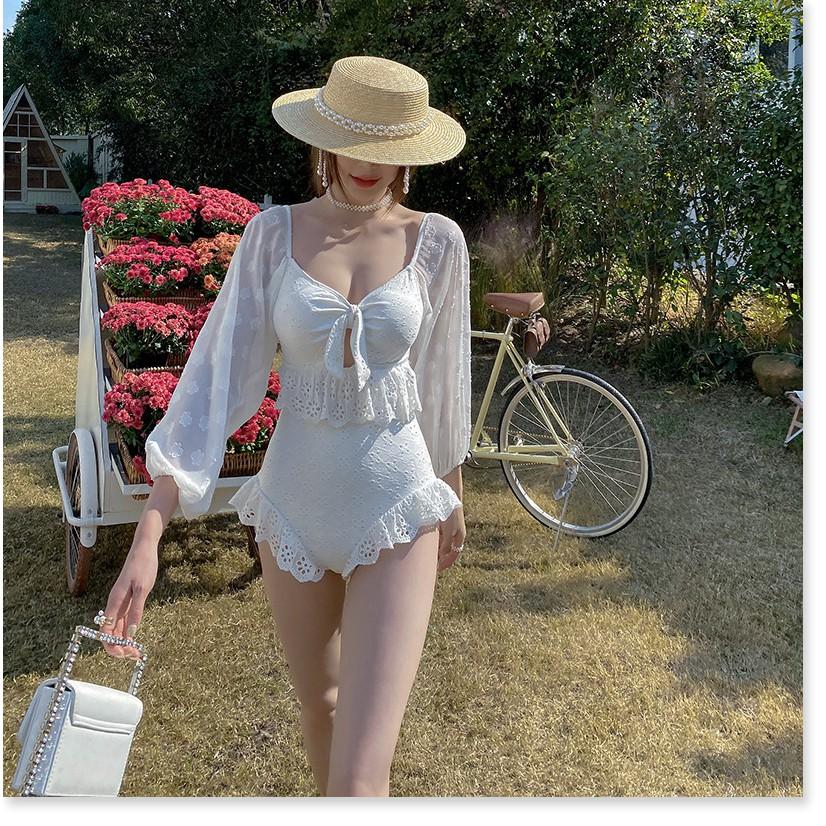 2021 áo tắm gió hàn quốc mới áo tắm hai dây nữ tính trở lại mỏng che bụng bong bóng xiêm tay áo tắm suối nước nóng