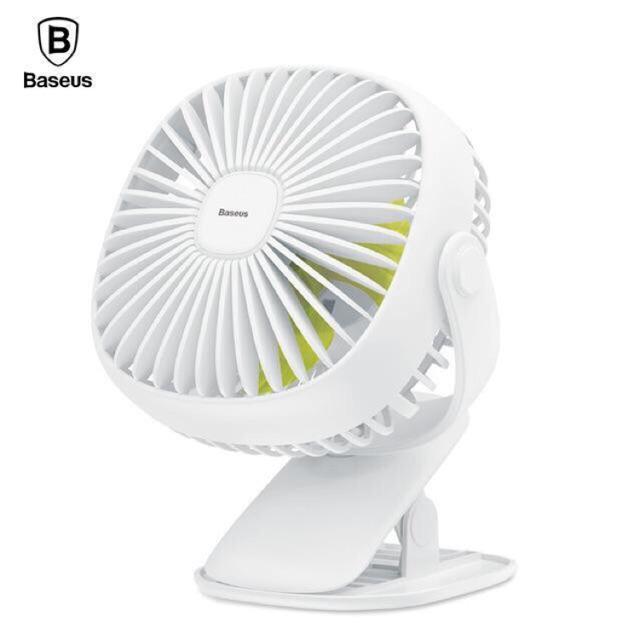 Quạt tích điện mini kẹp bàn có đèn Baseus chính hãng