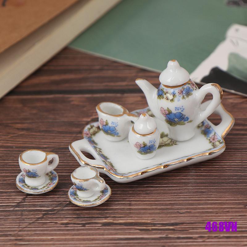 [DOU]8Pcs 1:12 Dollhouse Miniature Dining Ware Porcelain Tea Set Dish Cup Plate