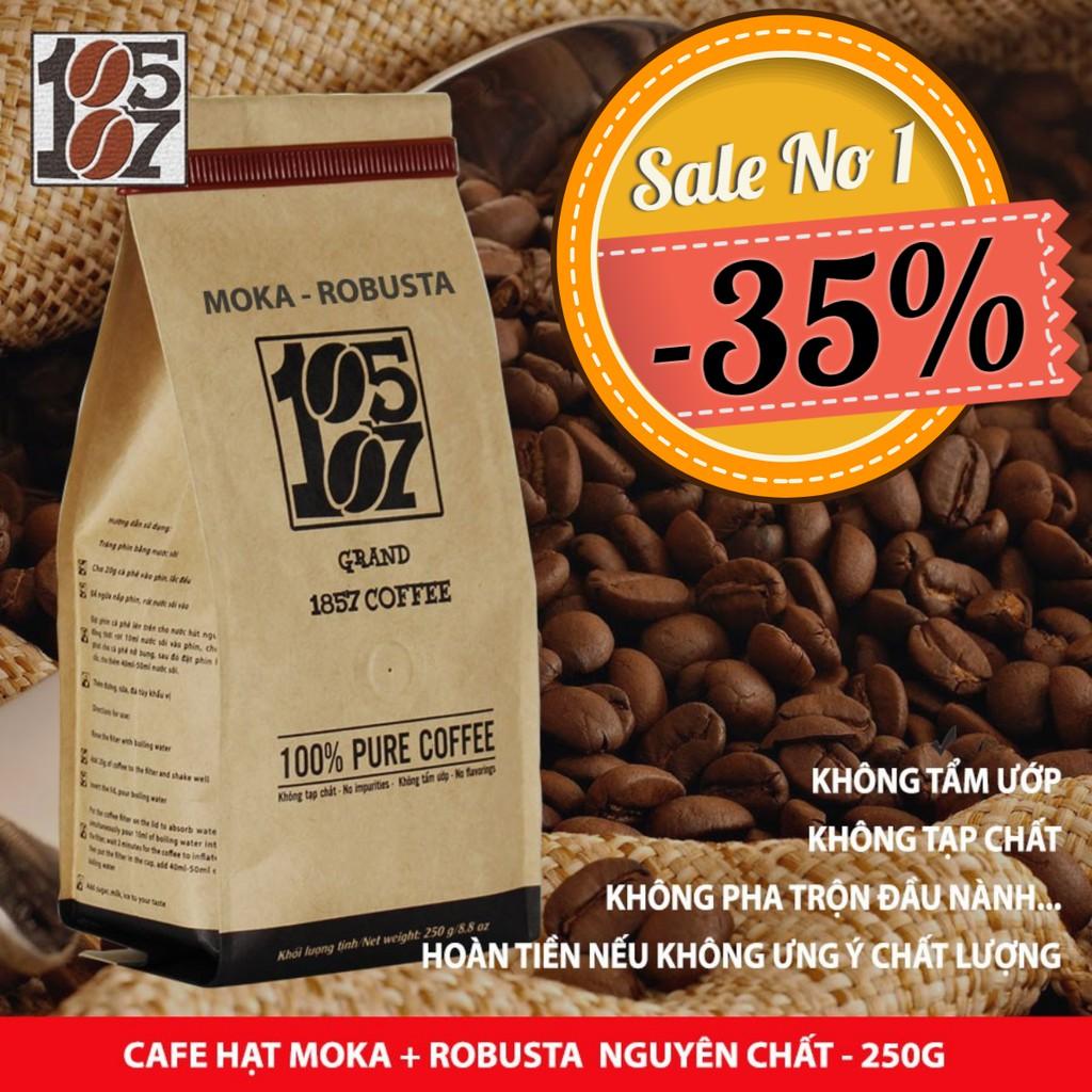1KG Cà phê Hạt thượng hạng Moka-Robusta nguyên chất không tạp chất không pha trộn tẩm ướp hương liệu - grand 1857 coffee