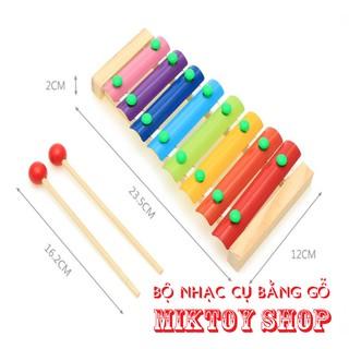 Đồ chơi bằng gỗ, Kim loại nhiều mầu sắc – Đàn gõ 8 thanh bằng gỗ – Bộ nhạc cụ giúp trẻ làm quen với âm thanh khác nhau.