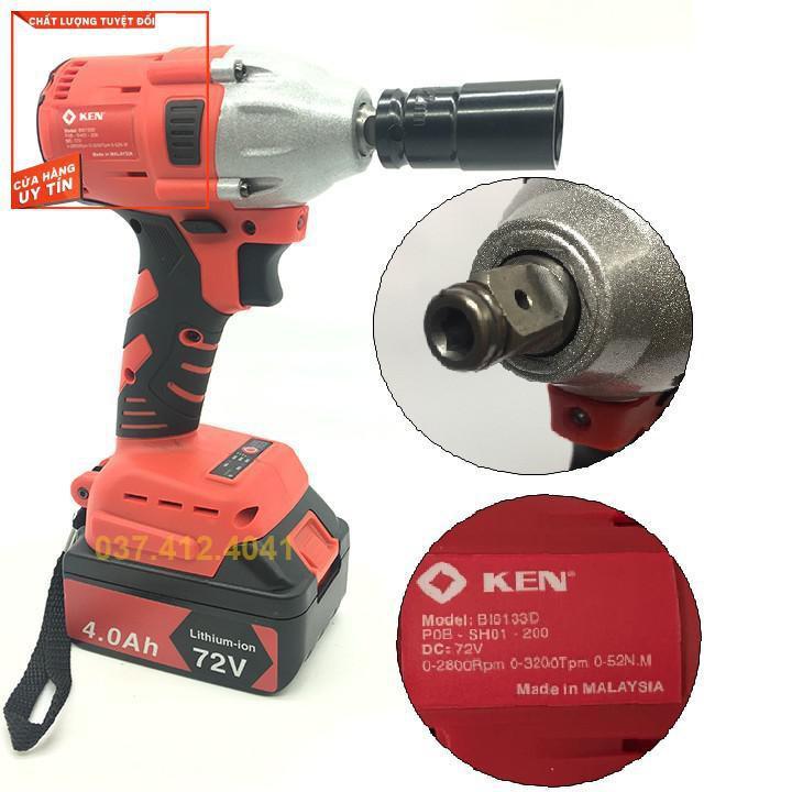 Máy siết bulong bắn vít KEN 72v - Máy siết bu lông KEN 2 Pin đa năng, khoan dùng pin - 10 Cell