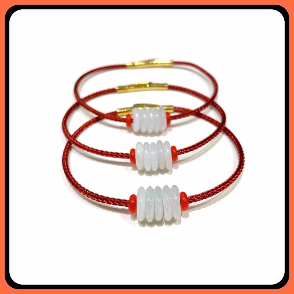 Vòng tay Đồng Điếu Bạch Ngọc trắng tết dây đỏ đen hàng thiết kế thiên nhiên, năng lượng VT210 - Hợp tất cả các mệnh