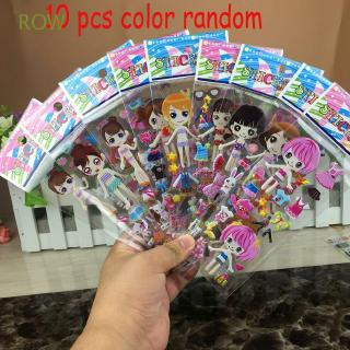 ROW 10 Sheets Colorful Funny Children Bubble Scrapbooking Cartoon Stickers