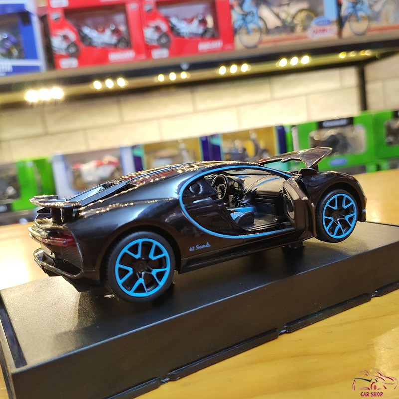 Xe mô hình sắt siêu xe Bugatti Chiron tỉ lệ 1:32 Miniauto màu đen