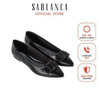 [Mã FAMALLT5 giảm 15% đơn 150k] Giày búp bê Sablanca mũi nhọn đính nơ trang trí 5050BB0055
