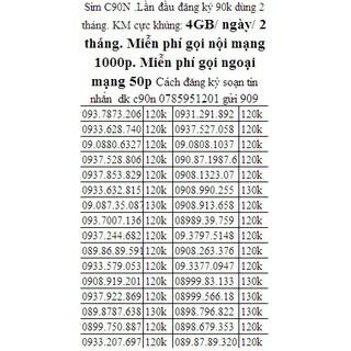 Sim mobi C90N TẶNG 4GB/NGÀY