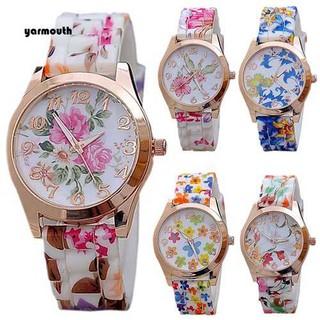 Đồng hồ mặt số dây đeo bằng silicon in hoa xinh xắn cho nữ
