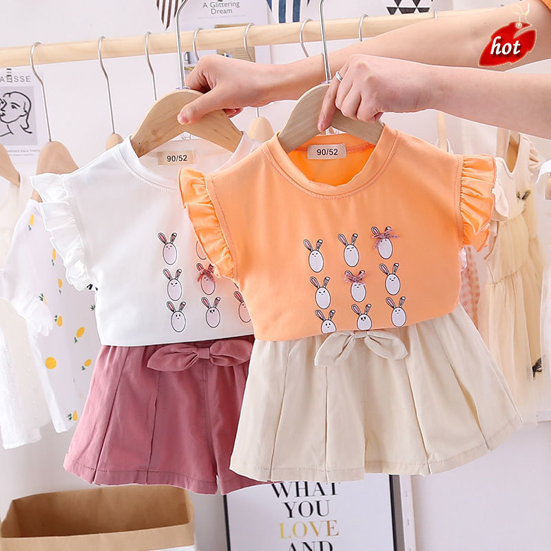 Nữ trang phục nữ áo thun khuôn mẫu thỏ dễ thương trẻ con tuổi 0-4 hàm áo 2 mánh khóe