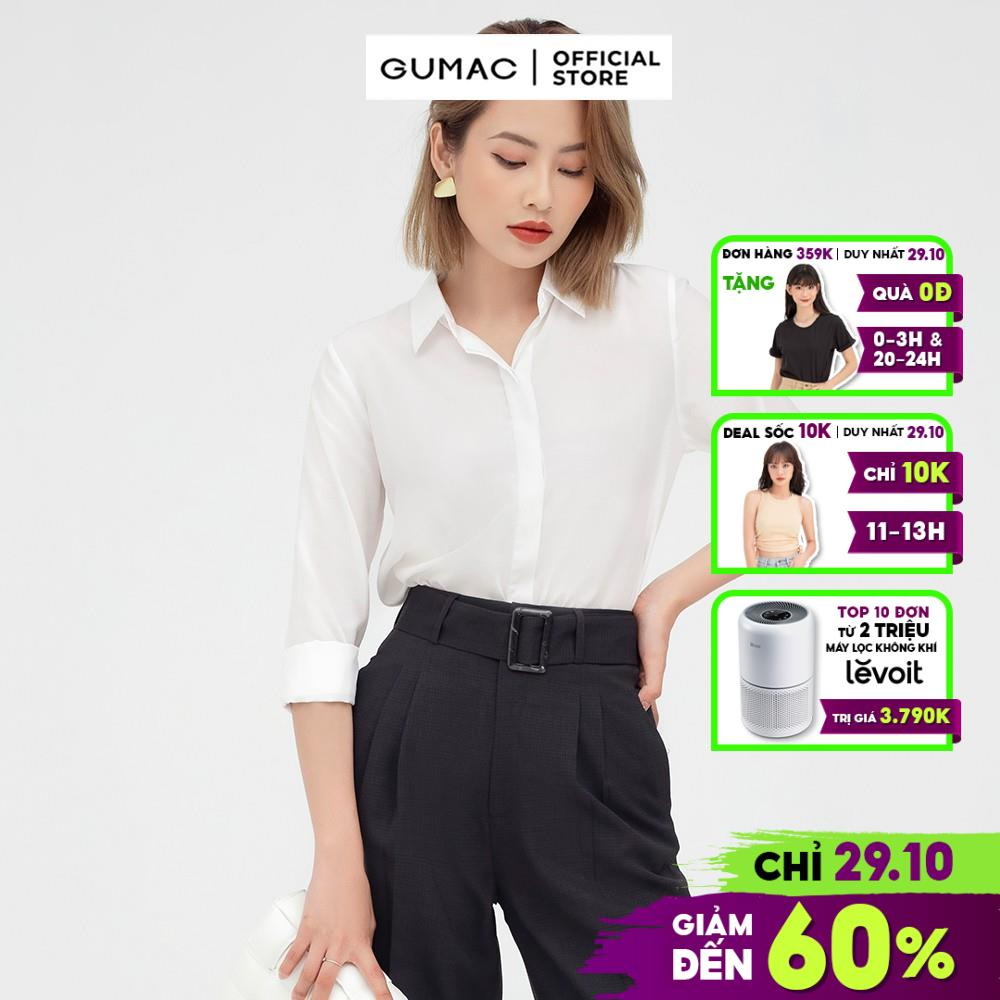 Mặc gì đẹp: Đúng gu với Áo sơ mi nữ công sở cơ bản GUMAC vải lụa cao cấp AB577