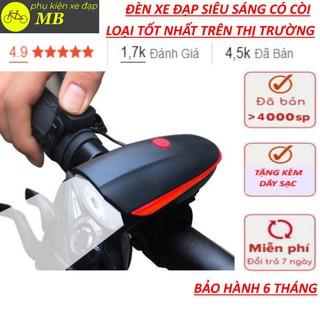 Đèn xe đạp thể thao siêu sáng có còi pin sạc usb led T6 chống nước 7588 loại cao cấp nhất