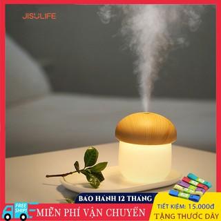 Máy phun sương, tạo ẩm, cấp ẩm không khí và tỏa hương tinh dầu hình nấm kiêm đèn ngủ Jisulife JM02, dung tích 250ml