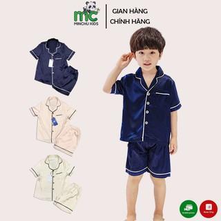 Bộ Pijama Lụa Trẻ Em Cộc Tay Cho Bé Trai Bé Gái Ngủ Mùa Hè từ 12 – 34kg Minchu – Bộ Đồ Ngủ Cao Cấp Mùa Hè Cho Bé