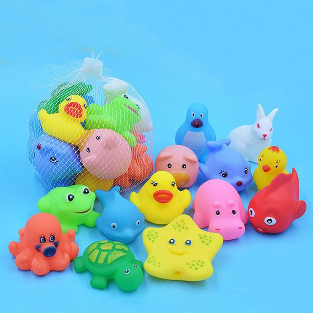 13 Pcs Mixed Animals Swimming Water Toys Colorful Soft Floating Rubber Duck Squeeze Sound Squeaky