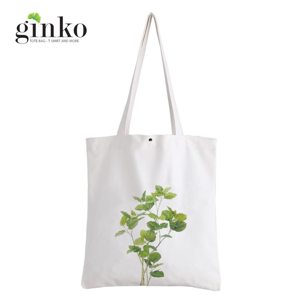Túi Vải Tote GINKO Kiểu Basic In Hình cây lá G52