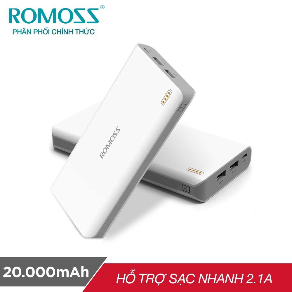 [Mã ELMALL8 giảm 8% đơn 500K] Pin sạc dự phòng Romoss SENSE 6 20.000mAh (Trắng) - Hãng phân phối chính thức