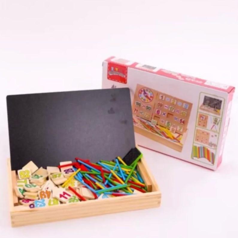 [ Có Sẵn ] Bảng gỗ 2 mặt dạy bé học toán