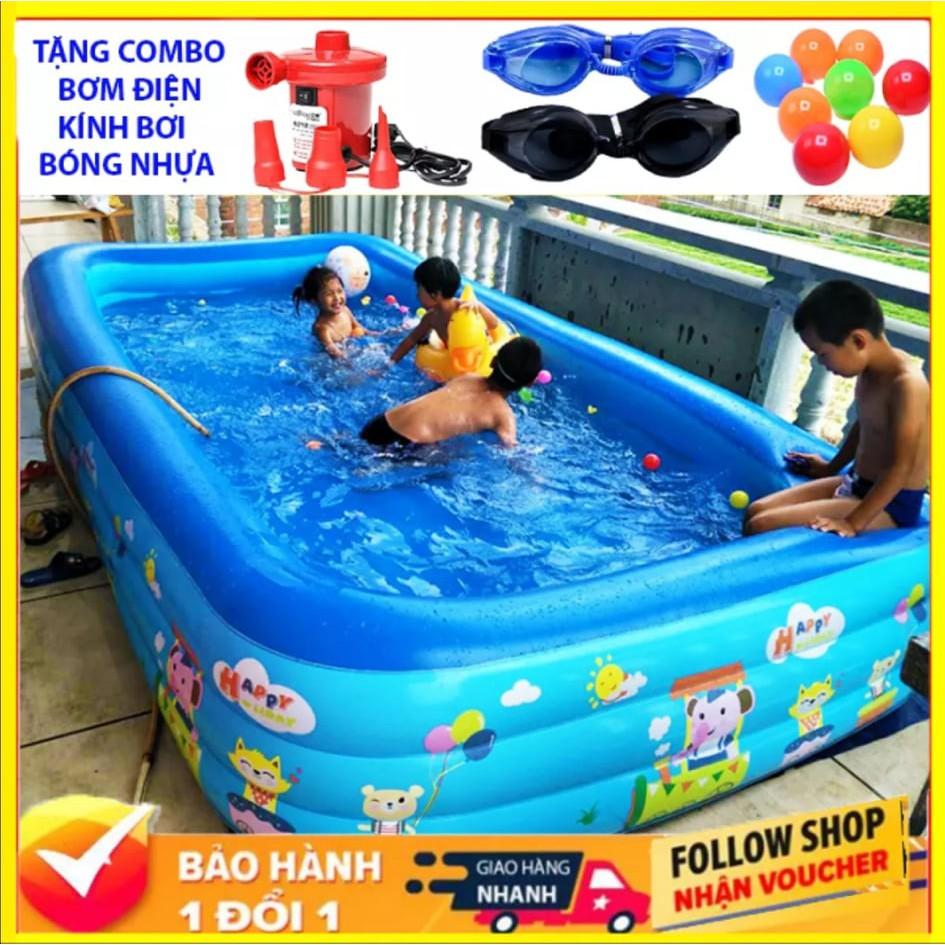 Bể Bơi Phao Trẻ Em 2M1 Và 1M8 bể bơi cho bé trong nhà hình chữ nhật