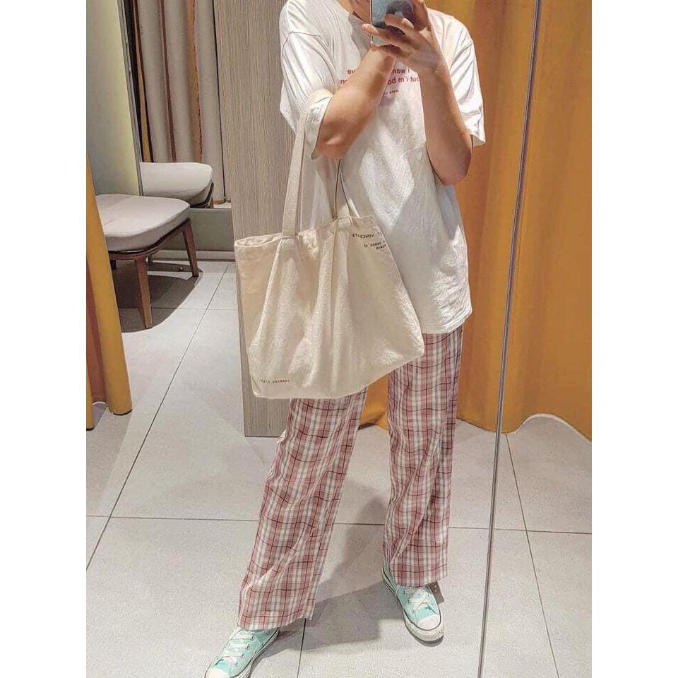 Quần Kẻ Sọc Caro nam nữ, dáng suông Phong Cách Hàn Quốc /quần ống rộng kẻ caro