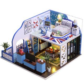 Nhà gỗ DIY – nhà búp bê biệt thự bờ Địa Trung Hải (có hướng dẫn Tiếng Việt, tặng keo dán)
