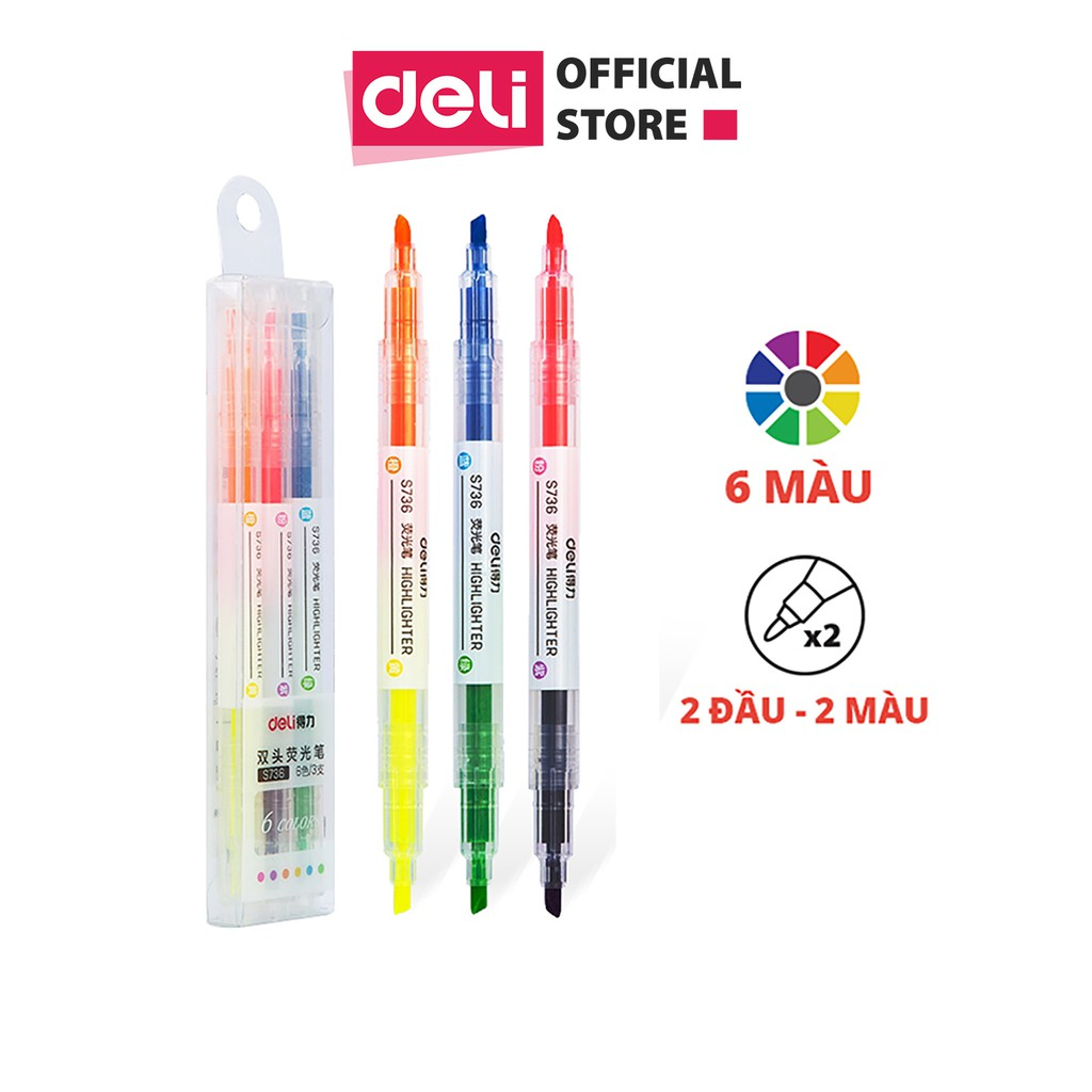 Bút dấu dòng 2 đầu Deli - 3 cây 6 màu - nét trơn mượt, màu tươi sáng - 3 chiếc / Hộp - S736