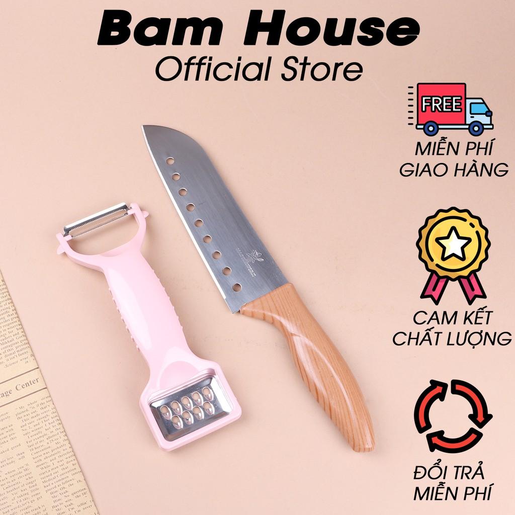 Set dao bào gọt vỏ và dao bếp gọt trái cây cắt thịt Bam House có lỗ loại lớn inox cao cấp DBLL01 – Gia dụng bếp