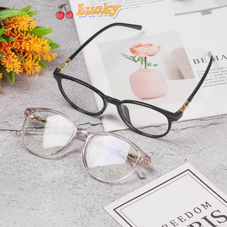 LUCKY🔆 Retro Vision Care Resin Eyeglasses Computer Glasses Flexible Portable Anti Blue Rays Fashion Myopia Prescription Flat Lens/Multicolor