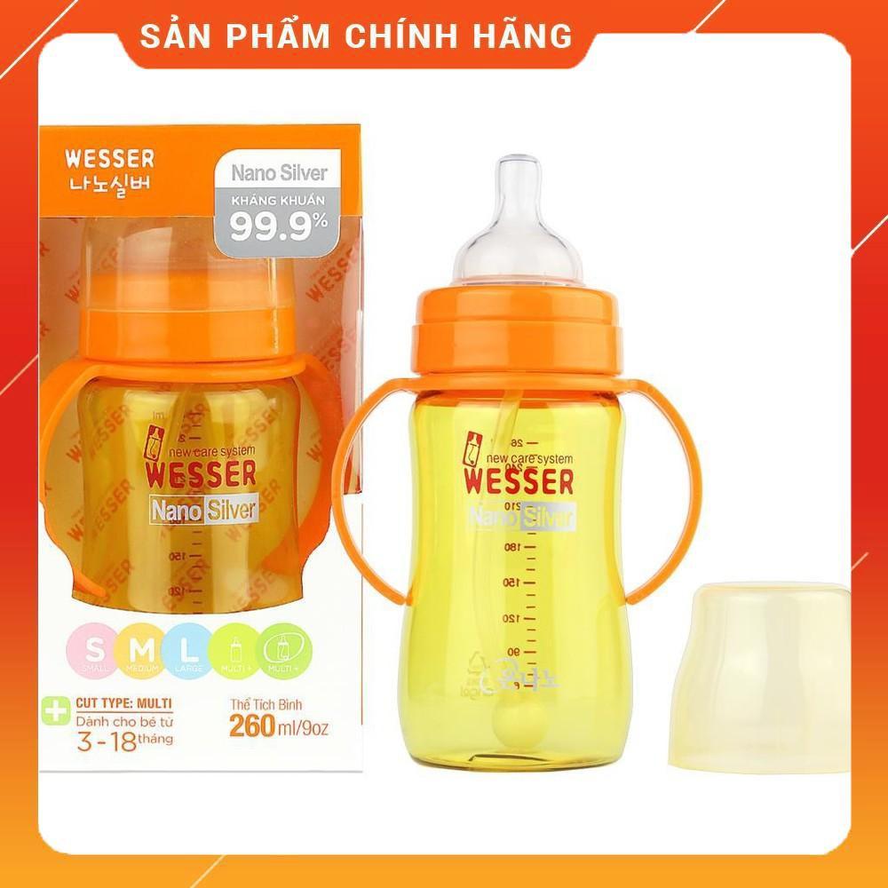 Bình Sữa WESSER Cổ Rộng Nano Silver Kháng Khuẩn 260ML