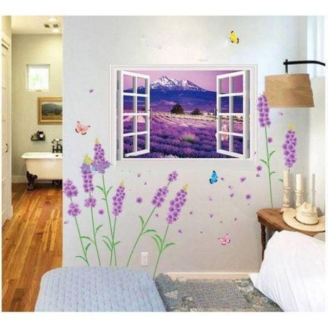 Decal dán tường cửa sổ và hoa phú sỹ