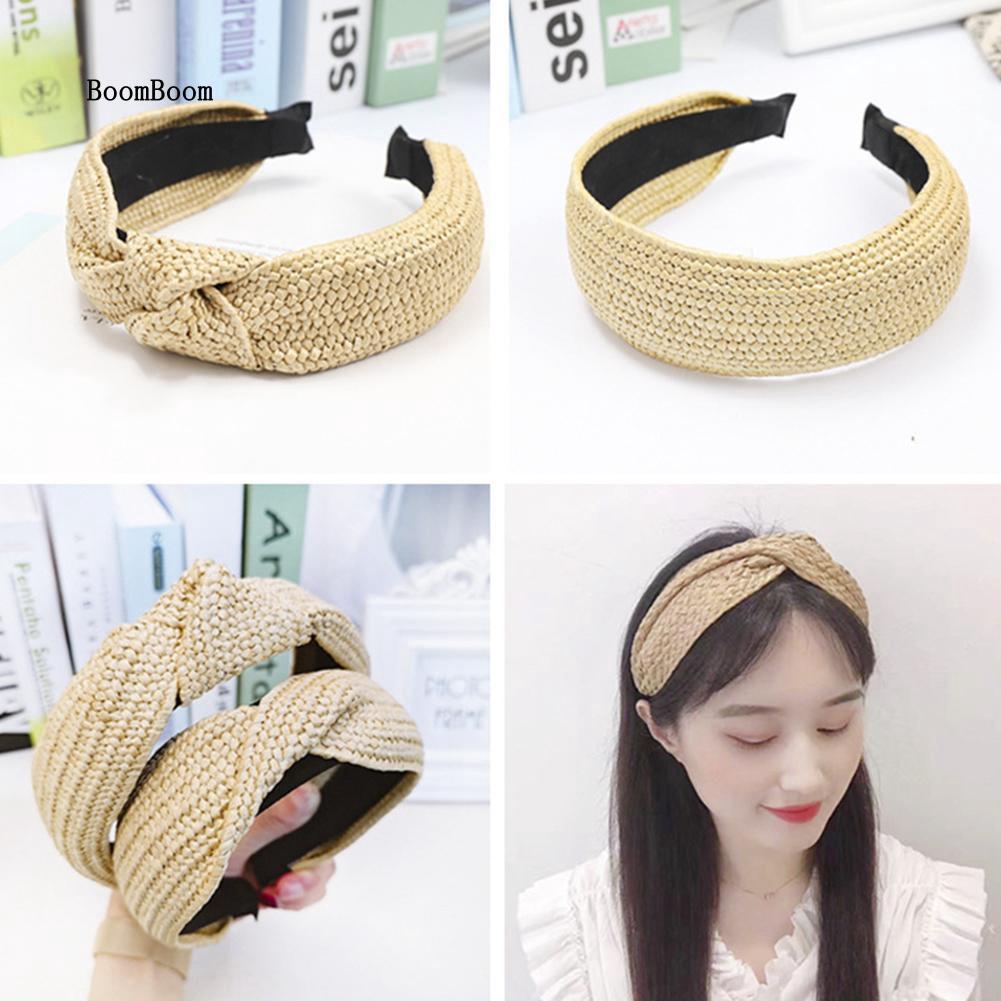 BOOM_Summer Beach Straw Weave Cross Knotted Hair Hoop Women Wide Headband Headwear