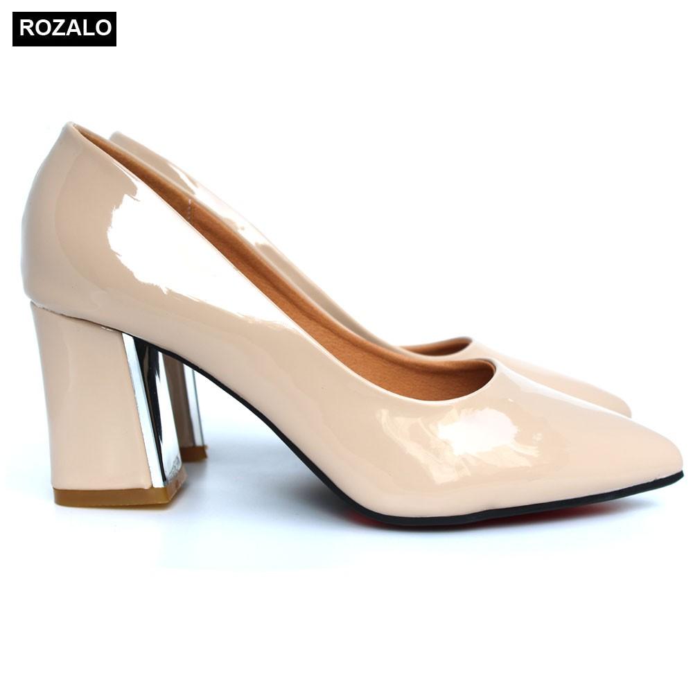 Giày nữ cao 7P gót vuông bọc kim loại da bóng Rozalo...
